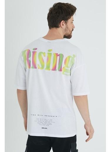 XHAN Buz Mavisi Arkası Baskılı Oversize T-Shirt 1Kxe1-44646-43 Beyaz